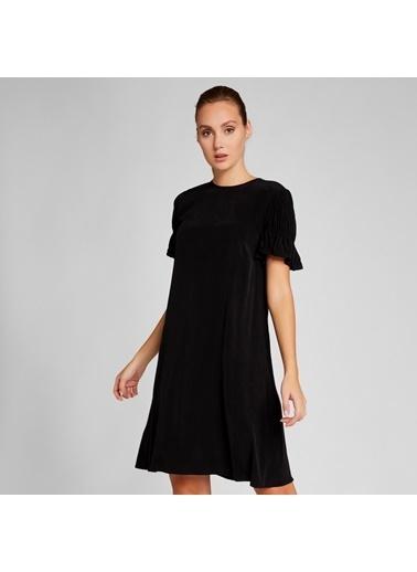 Vekem-Limited Edition Rahat Kesim Kupra Elbise Siyah